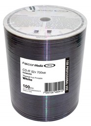 Bild von CD-Rohlinge Falcon Media FTI, Thermo Retransfer White Diamond Dye 80min/700MB, 52x