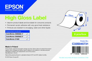 Bild von High Gloss Label - Continuous Roll: 102mm x 58m
