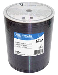 Bild von CD-Rohlinge Falcon Media FTI, Inkjet White Diamond Dye 80min./700MB, 52x
