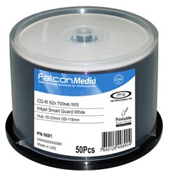 Bild von CD-Rohlinge Falcon Media FTI, Inkjet White SMART GUARD 80min./700MB, 52x